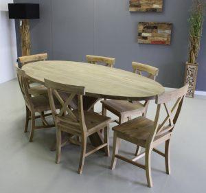 ovale tafel van teakhout