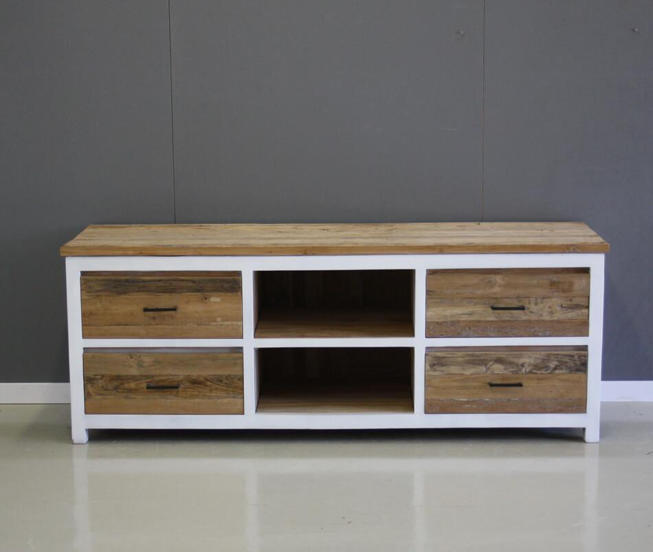 tv meubel teak met wit 160cm