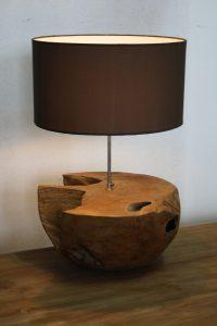 Tafel lamp houten voet