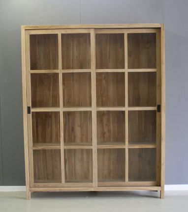 boekenkast teakhout glazen schuifdeuren