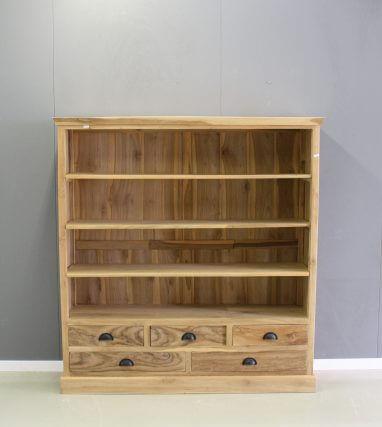 Half hoge boekenkast vijf laden teak hout