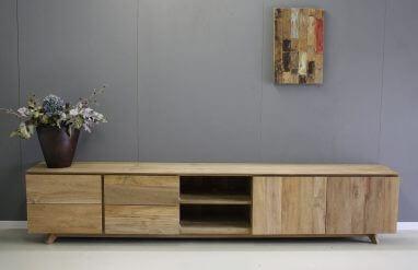 tv meubel van teakhout 280cm breed