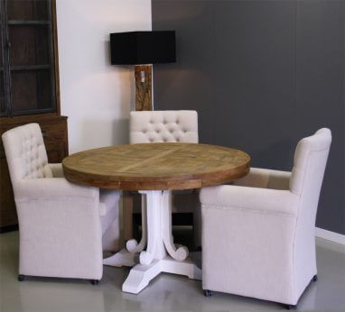 Verkoop Witte Ronde Eettafel.Teak Tafels Indoteak