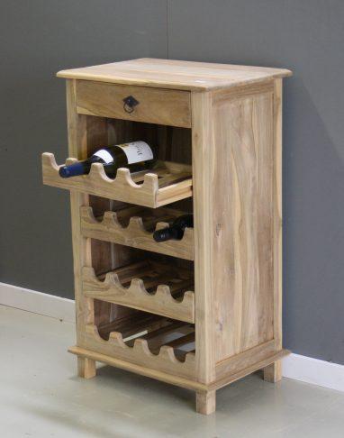 simpel wijnrek van teakhout
