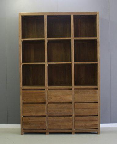 robuust afgewerkte boekenkast negen vakken negen laden