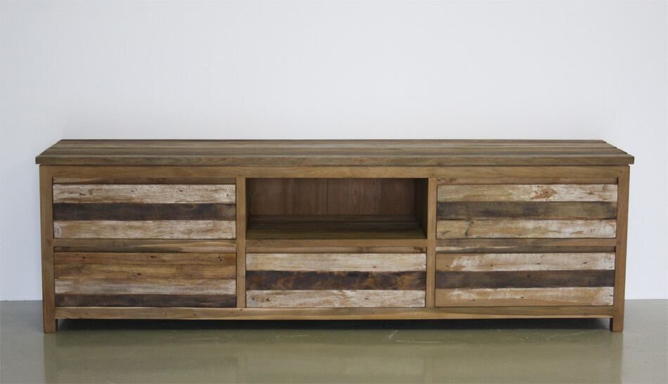 tv meubel van teakhout met krijtwas