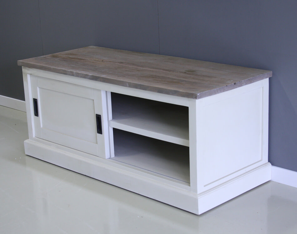 Tv meubel teak met wit 120cm breed indoteak for Ladenblok 1 meter breed