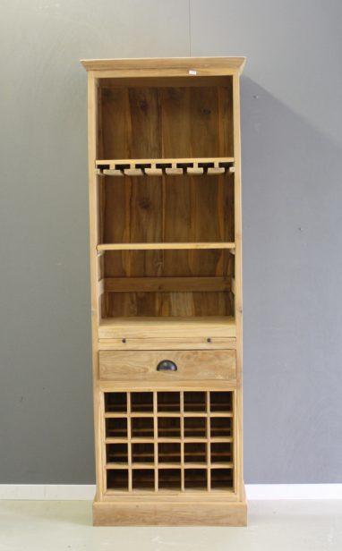 hoge wijnkast van teakhout