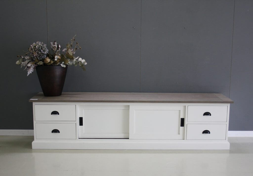 tv dressoir 220cm teak met wit