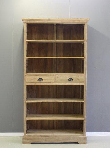 Teak boekenkast twee laden
