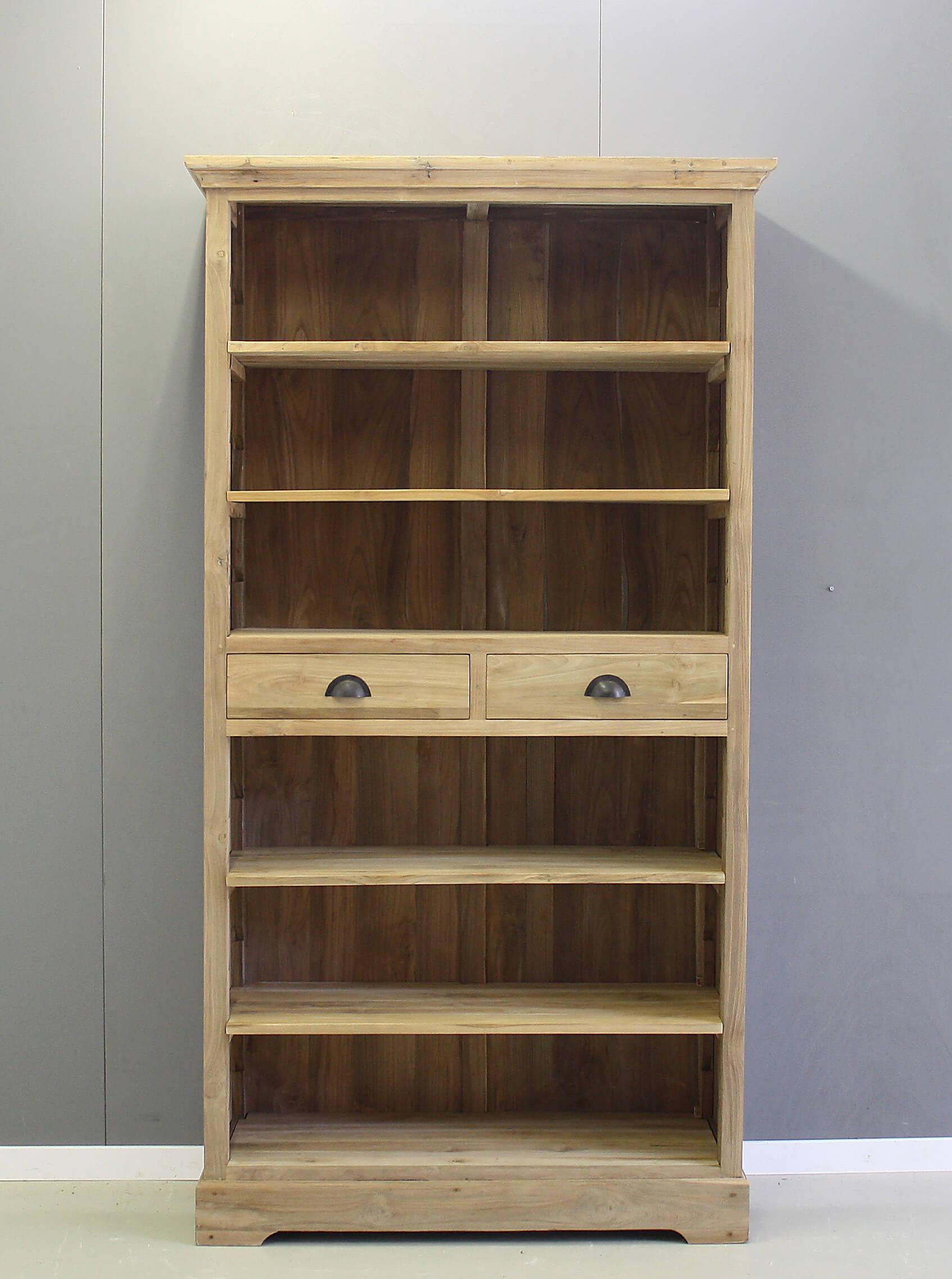 teak boekenkast met twee laden