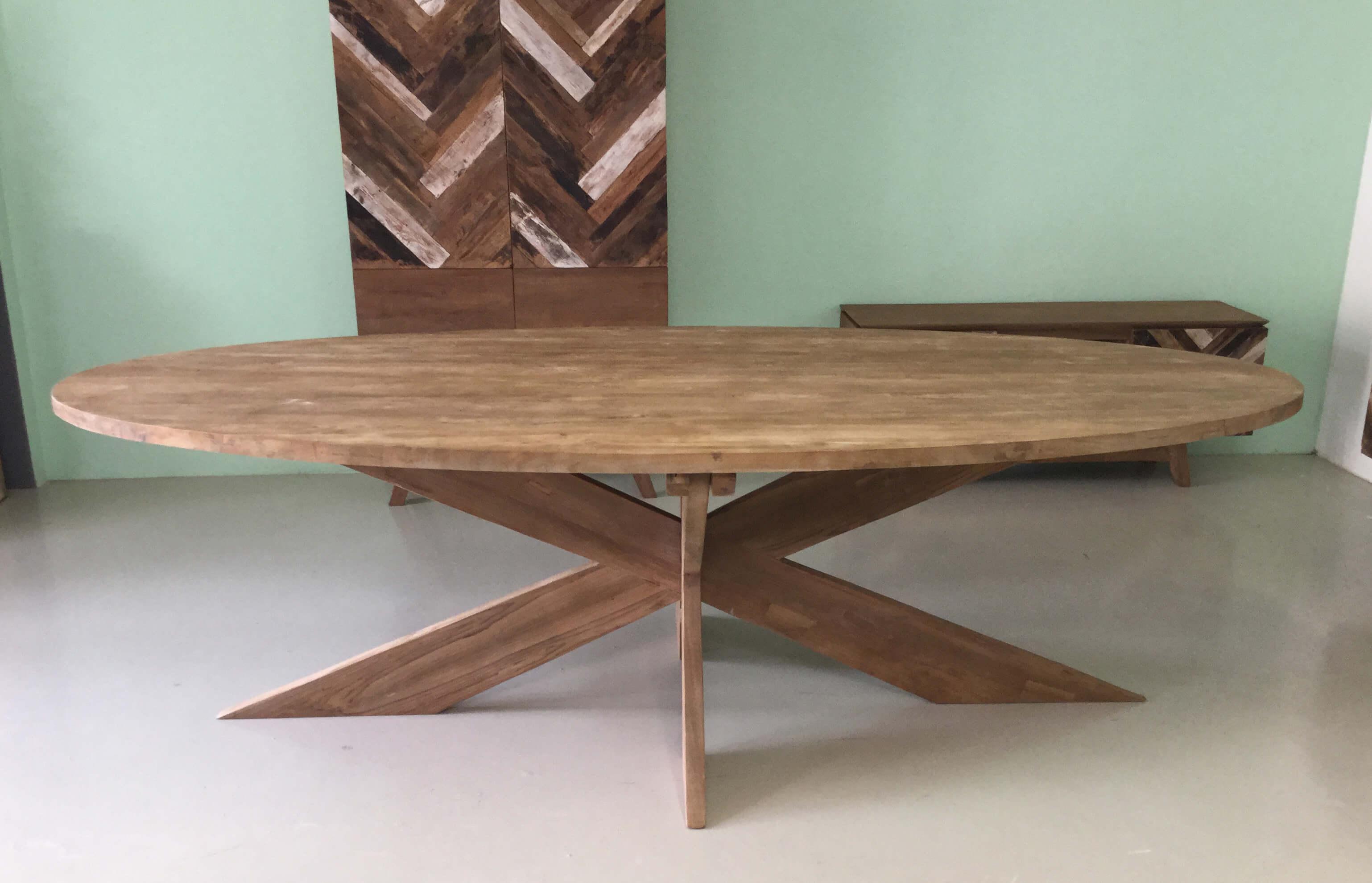 Teak Tafels Haarlem : Ovale tafel met kruispoot cm tot cm indoteak