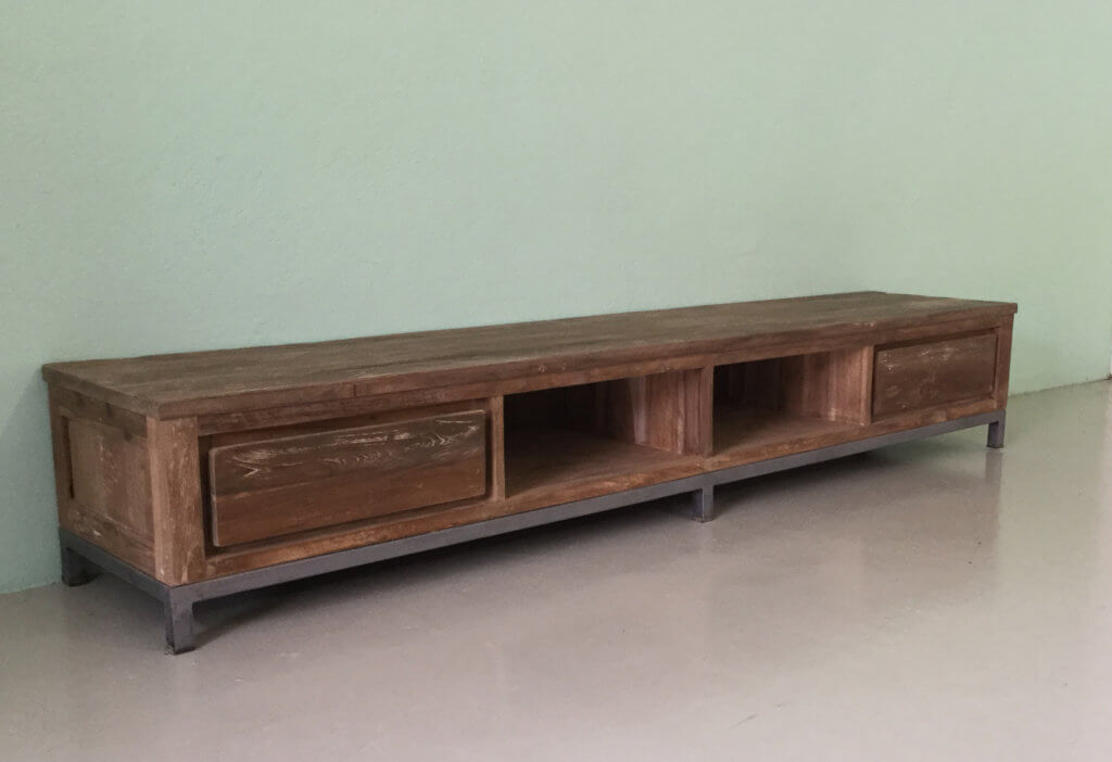 industrieel teak tv dressoir