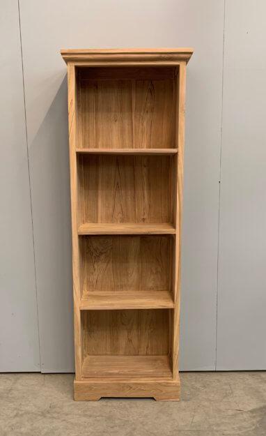 Simpele smalle boekenkast teak
