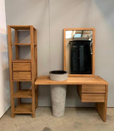 Complete 4 delige badkamerset van teakhout