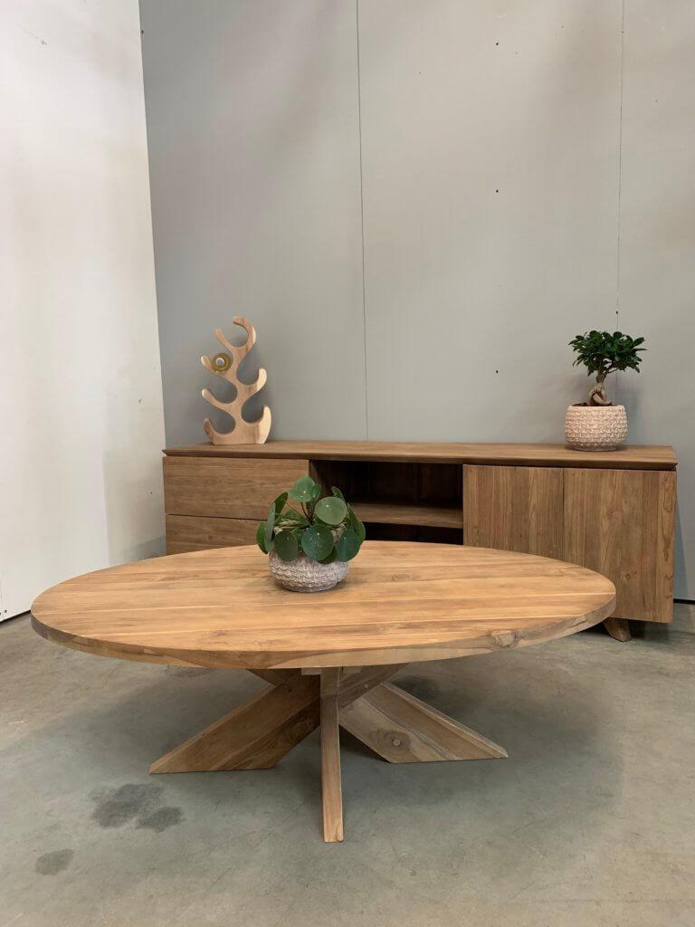 ovale teakhouten salontafel
