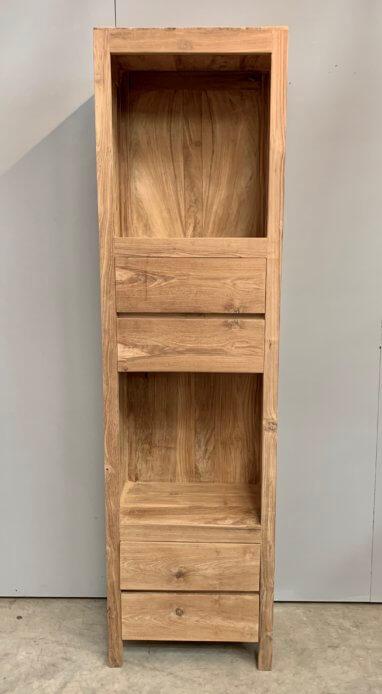 smalle hoge boekenkast vier laden