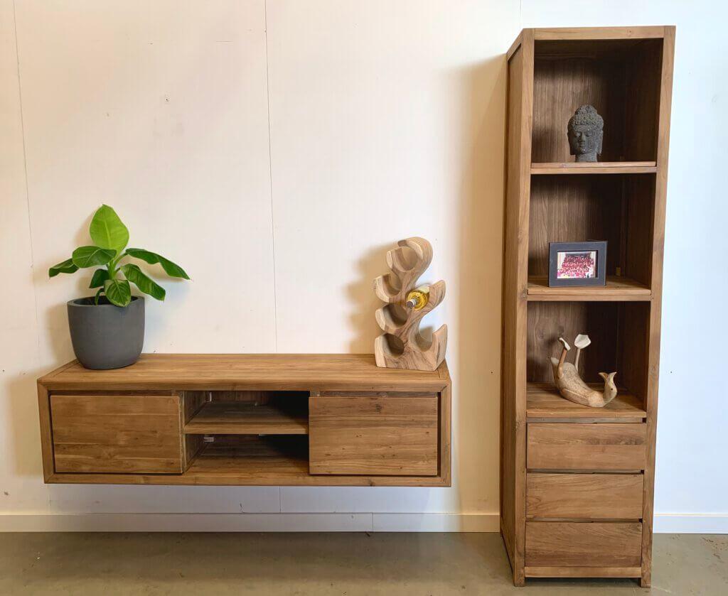 Moderne boekenkast gecombineerd met het hangend tv meubel