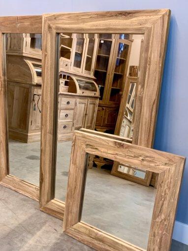 Rustieke teakhouten spiegel