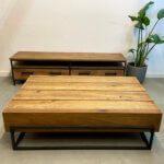 stoere rechthoekige salontafel van teakhout met staal