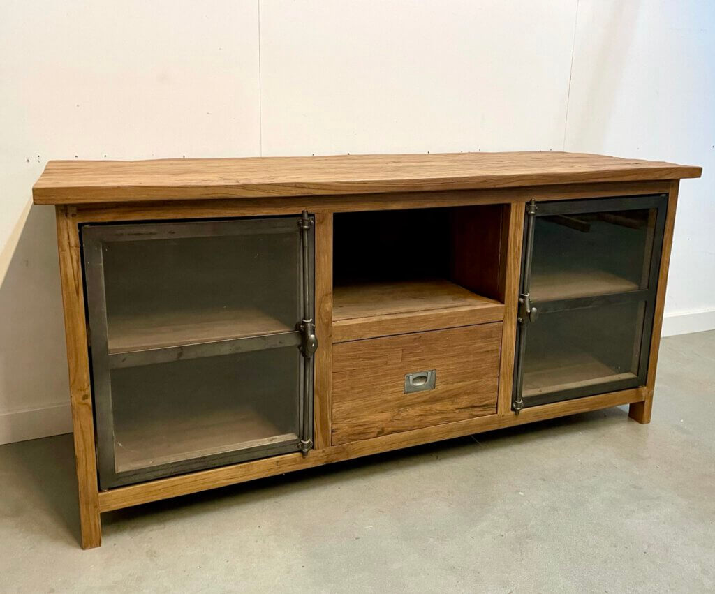 tv-meubel teak en staal met glas
